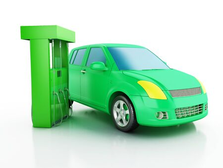 electric power station: 3d renderer image. Green electric car at charging station. Alternative power concept on white background