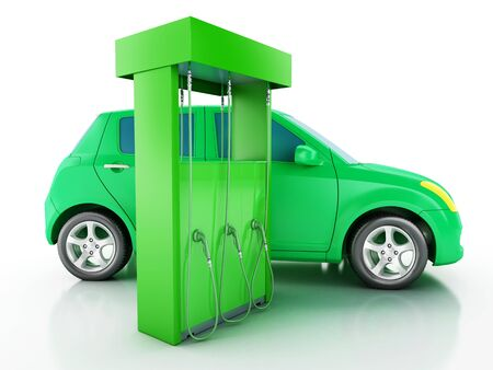 recharging: 3d renderer image. Green electric car at charging station. Alternative power concept