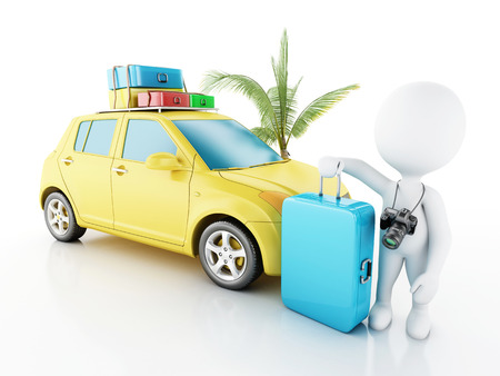 old family: 3d renderer image. White people with car and travel suitcases.. Travel concept. Isolated white background Stock Photo