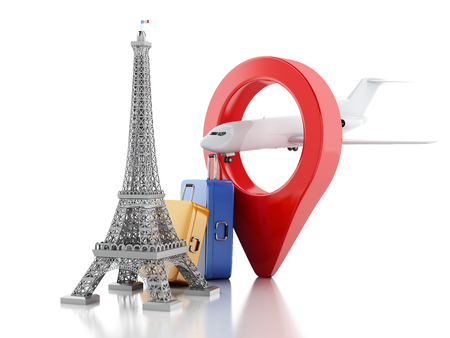 tour eiffel: 3d renderer image. Eiffel tower and travel suitacase. Travel to paris and Tourism concept on white background