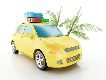 summer holiday: 3d renderer image. Car with travel suitcases. Travel concept. Isolated white background Stock Photo