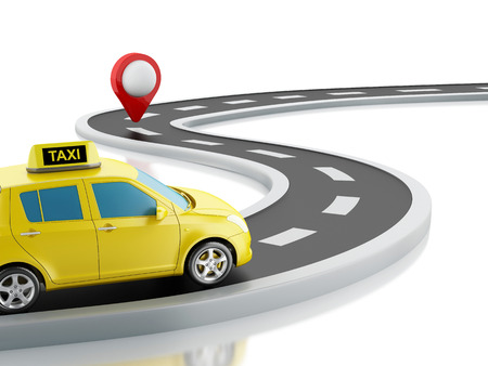 taxi sign: 3d renderer image. Taxi car on the road, and map pointer. Isolated white background