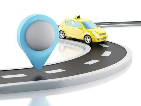 3d renderer image. Taxi car on the road, and map pointer. Isolated white background