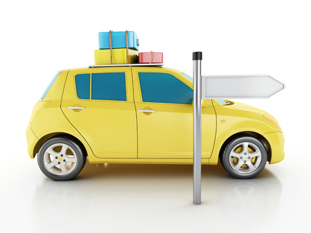old suitcase: 3d renderer image. Car with travel suitcases. Travel concept. Isolated white background Stock Photo