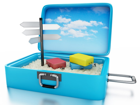 vacation destinations: 3d renderer image. Travel suitcase with sing board. Beach vacation concept. Isolated white background Stock Photo