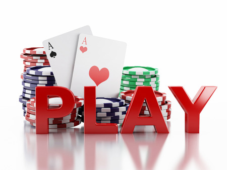 tokens: 3d renderer image. Casino tokens and Playing Cards. Casino concept, Isolated white background Stock Photo