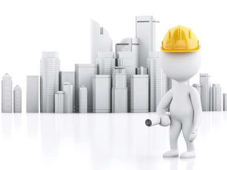 building work: 3d renderer image. White people with helmet, plans and city. Construction concept