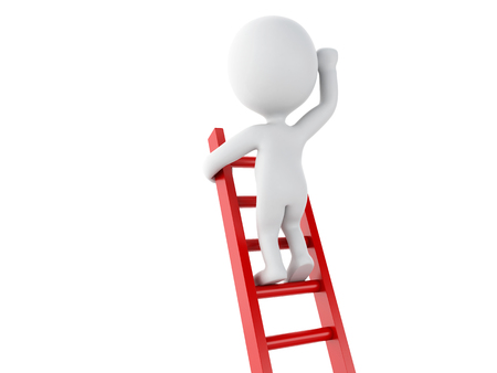 ladder success: 3d renderer image. White people climbing ladder. Success in business. Isolated white background