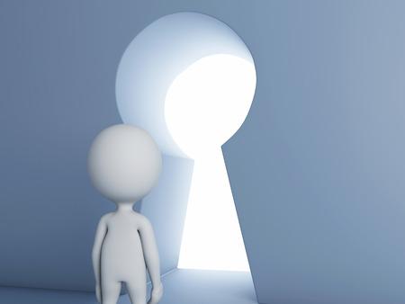 escape key: 3d renderer image. White people looking through keyhole. Success concept Stock Photo