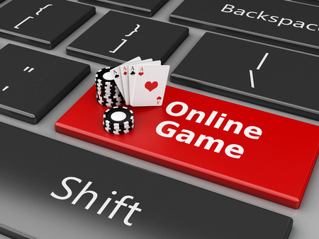3d renderer image. Chips and Cards on the computer keyboard. Casino online games concept. Banque d'images