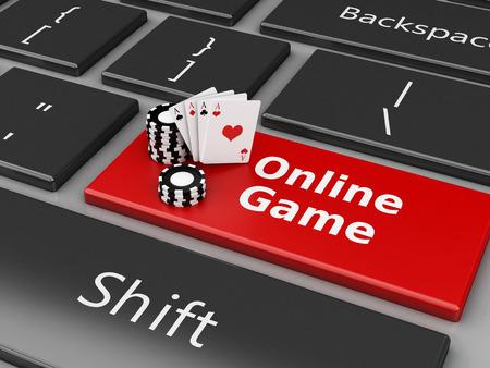 3D-Renderer Bild. Chips und Karten auf der Computertastatur. Casino Online-Spiele-Konzept. Standard-Bild - 46391435