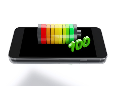 3d renderer image. Smartphone and battery charge. Mobile phone charging concept. Isolated white background Foto de archivo