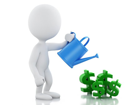 money savings: 3d renderer image. White business people watering dollar signs. Success concept. Isolated white background