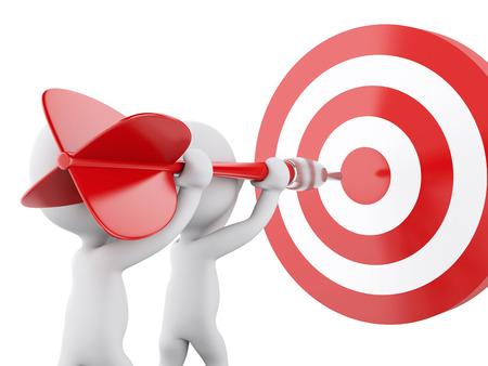 Imagen de render 3d. Los blancos con dardos y objetivo. El éxito en los negocios. Fondo blanco aislado Foto de archivo - 46391590