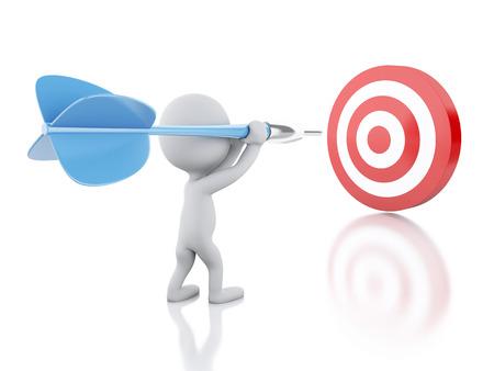 3D-beeld renderer. Witte mensen met dart en doel. Succes in het bedrijfsleven. Geïsoleerde witte achtergrond