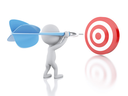 3d renderer image. White people with dart and target. Success in business. Isolated white background