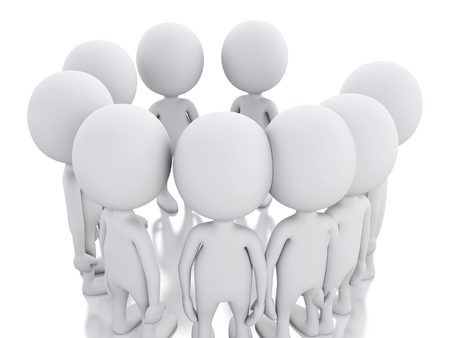 white person: 3d renderer image. White person, joining a group of people in a circle. Union concept on white background.