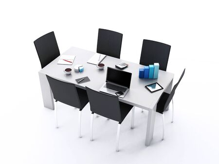 office accessories: 3d renderer image. Office meeting room with office accessories and laptops.  Business concept