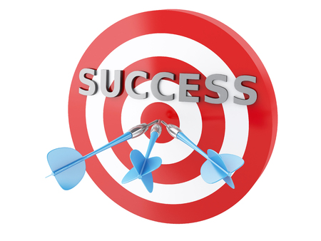 3d renderer image. Three arrows in target. Concept of success on white background