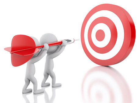 dart on target: 3d renderer image. White people with dart and target. Success in business. Isolated white background