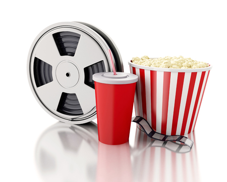 cinematography: 3d renderer image. Film reel, popcorn and drink. cinematography concept. Isolated white background Stock Photo