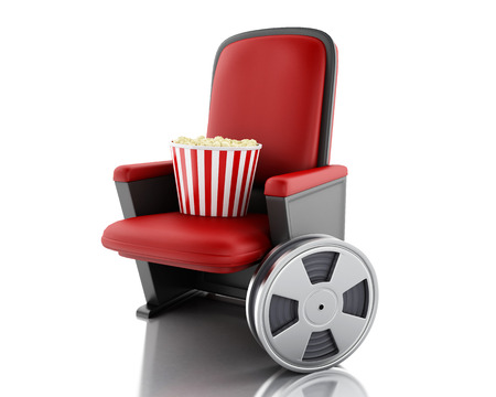 theater seat: 3d illustration. Film reel and popcorn on theater seat. cinematography concept. Isolated white background