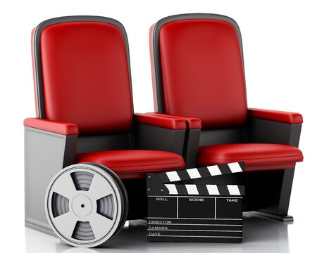 3d illustration. Film reel and Cinema clapper board on theater seat. cinematography concept.