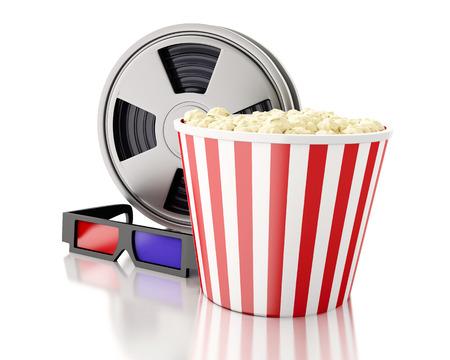 cinta pelicula: Imagen de render 3d. Rollo de película y palomitas de maíz. concepto de la cinematografía. Fondo blanco aislado