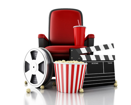 theater seat: 3d illustration. Film reel, popcorn and drink on theater seat. cinematography concept.
