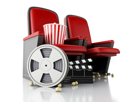 movie clapper: 3d illustration. Film reel, popcorn and Cinema clapper board on theater seat. cinematography concept. Stock Photo