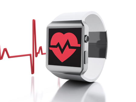 heart monitor: 3d renderer image. Smart watch with red health icon. Fitness application for health. Isolated white background