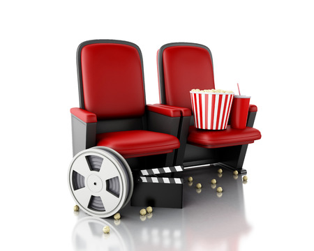 cinema film: 3d illustration. Film reel, popcorn and Cinema clapper board on theater seat. cinematography concept. Stock Photo