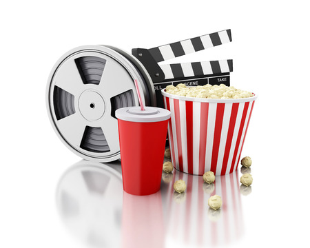 cinematography: 3d renderer image. Cinema clapper board, Film reel, popcorn and drink. cinematography concept. Isolated white background