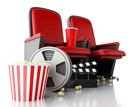 theater seat: 3d illustration. Film reel, popcorn and Cinema clapper board on theater seat. cinematography concept. Stock Photo