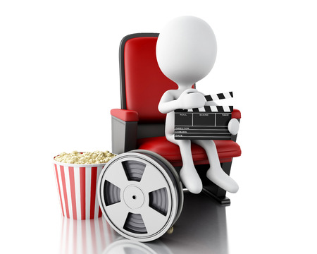 theater seat: 3d illustration. White people with film reel, clapper board, popcorn and drink on theater seat. Isolated white background