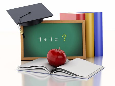 text books: 3d renderer illustration. Blackboard with graduation cap and Books. School education concept on white background