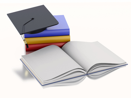 achievement concept: 3d renderer image. Graduation cap and Books. Education concept. Isolated on white background