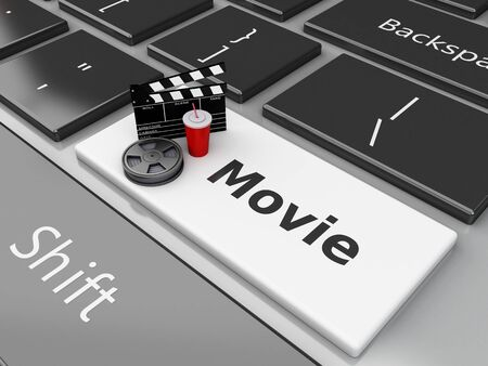 cinematography: 3d illustration. Clapper board with Film reel and drink on computer keyboard. Cinematography concept.