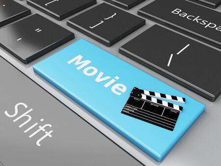 cinematography: 3d illustration. Cinema Clapper board on computer keyboard. Cinematography concept.