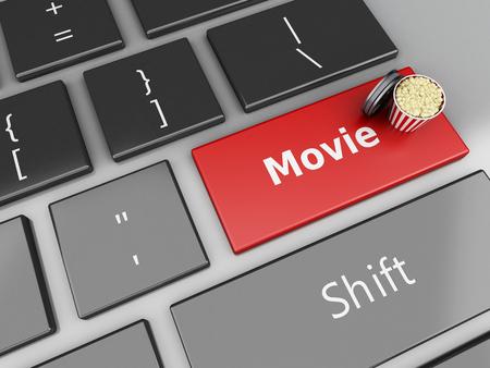 cinematography: 3d illustration. Popcorn and film reel on computer keyboard. Cinematography concept.