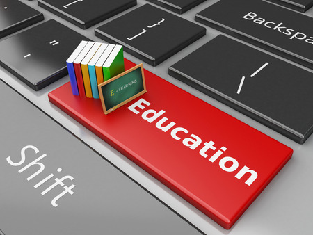 computer education: 3d renderer illustration. Blackboard and books on computer keyboard. Education concept. Stock Photo