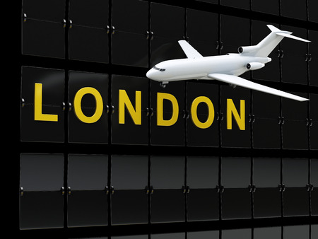 air travel: 3d renderer image. Europe airport departures. Travel to London