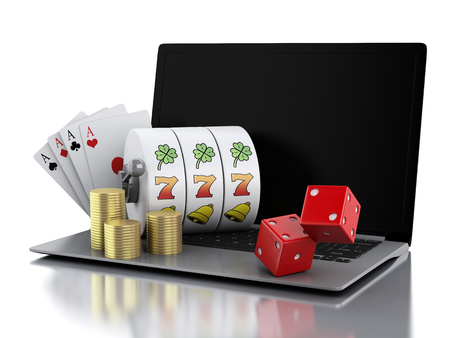 gambling: 3d render illustration. Laptop with slot machine, dice, cards and gold coins. Casino online games concept. Isolated white background Stock Photo