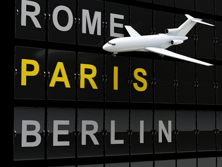 destination: 3d renderer image. Airplane and Airport board, europe destination. Travel or tourism concept.
