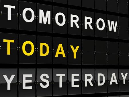 cronologia: Ilustraci�n de render 3d. Tablero de aeropuerto con el ma�ana, hoy y ayer palabras. Concepto de tiempo. Foto de archivo