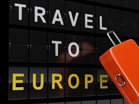 travel bag: 3d renderer image. Airport board and travel suitcases. Travel to europe concept. Stock Photo