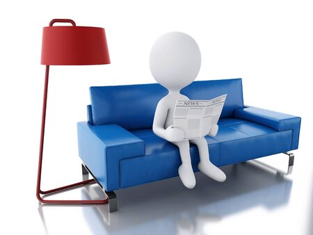 average guy: 3d renderer illustration. White people reading a newspaper, sitting on an armchair. Isolated white background
