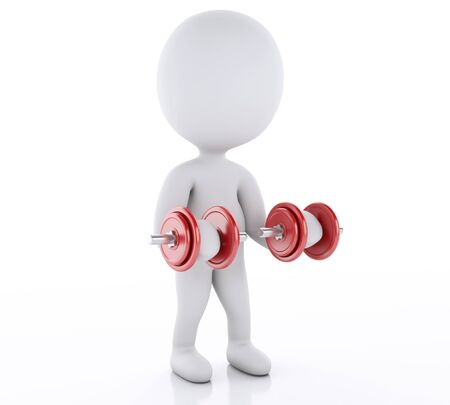heavy lifting: 3d renderer image. White people lifting heavy weights. gym concept. Isolated white background