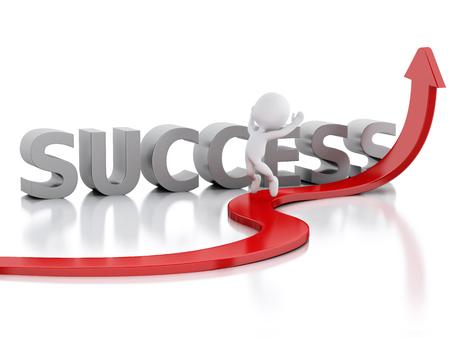 3 d レンダラーのイメージ。白人と赤い矢印。ビジネス コンセプトで成功。孤立した白い背景