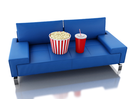 cinematography: 3d renderer illustration. Popcorn and drink. Cinematography concept. Isolated white background Stock Photo